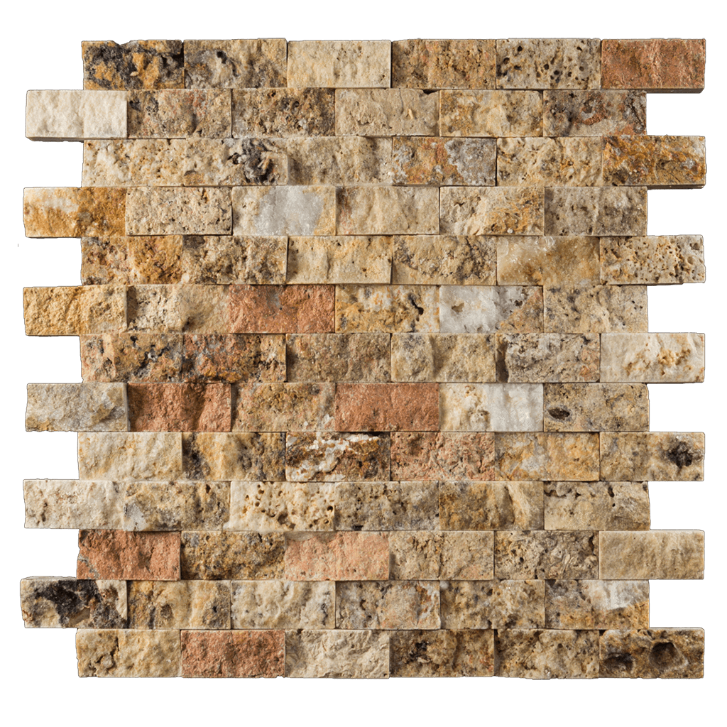 "1x2 Scabos Travertine Mosaic Tile Split Face Split Face / 1"" x 2"" - DW TILE & STONE - Atlanta Marble Natural Stone Wholesale Stone Supplier"