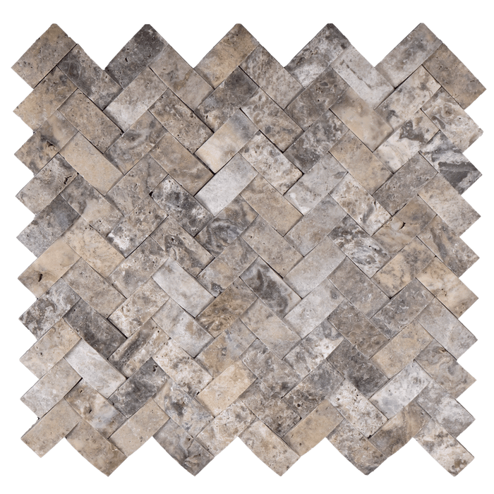"1X2 Silver Travertine Mosaic Tile Cambered - Herringbone Honed / 1"" x 2"" - DW TILE & STONE - Atlanta Marble Natural Stone Wholesale Stone Supplier"