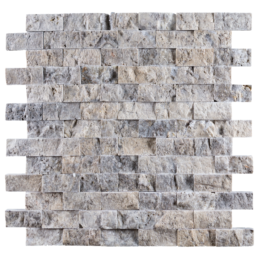 "1x2 Silver Travertine Mosaic Tile - Split Face Split Face / 1"" x 2"" - DW TILE & STONE - Atlanta Marble Natural Stone Wholesale Stone Supplier"