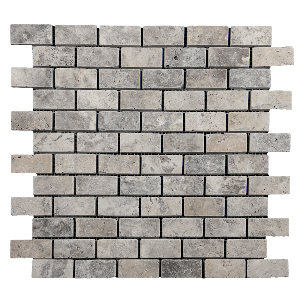 "1x2 Silver Travertine Mosaic Tile - Tumbled Tumbled / 1"" x 2"" - DW TILE & STONE - Atlanta Marble Natural Stone Wholesale Stone Supplier"
