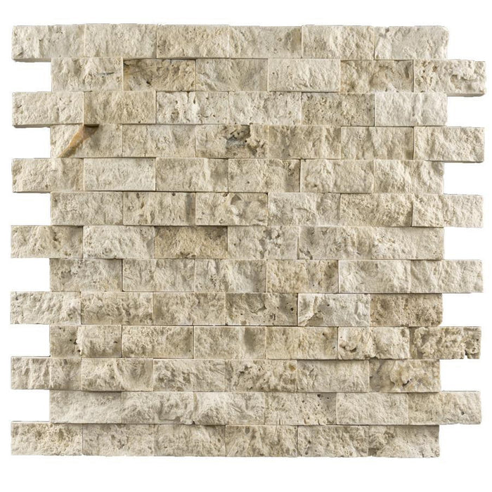 1x2 Ivory Travertine Mosaic Tile - Split Face  - DW TILE & STONE - Atlanta Marble Natural Stone Wholesale Stone Supplier