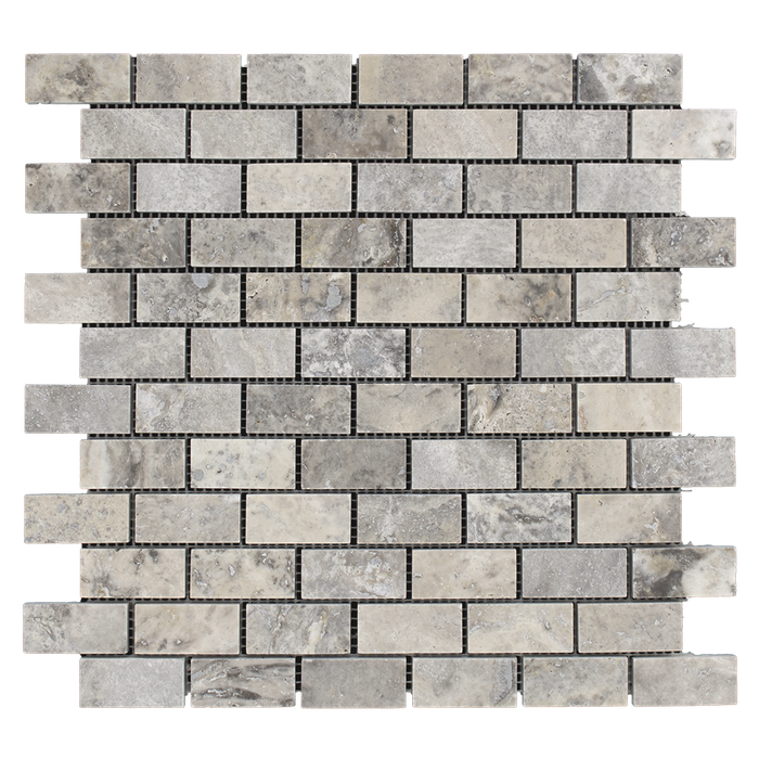 "1x2 Silver Travertine Mosaic Tile - Honed Honed / 1"" x 2"" - DW TILE & STONE - Atlanta Marble Natural Stone Wholesale Stone Supplier"