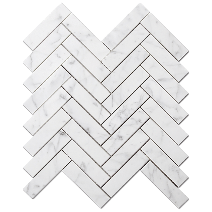 "1x4 Bianco Gioia Marble Mosaic Tile Herringbone - Polished Polished / 1"" x 4"" - DW TILE & STONE - Atlanta Marble Natural Stone Wholesale Stone Supplier"