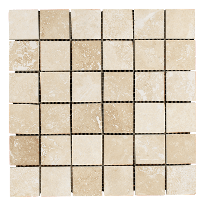 "2x2 Ivory Travertine Mosaic Tile - Honed Honed / 2"" x 2"" - DW TILE & STONE - Atlanta Marble Natural Stone Wholesale Stone Supplier"