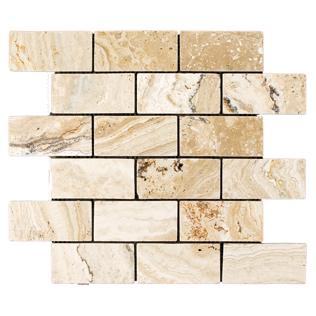 "2x4 Leonardo Travertine Mosaic Tile - Tumbled Tumbled / 2"" x 4"" - DW TILE & STONE - Atlanta Marble Natural Stone Wholesale Stone Supplier"