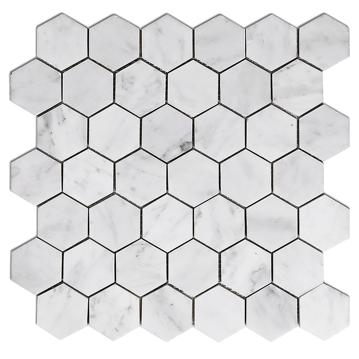 "2"" Bianco Gioia Marble Mosaic Tile Hexagon - Honed Honed / 2"" x 2"" - DW TILE & STONE - Atlanta Marble Natural Stone Wholesale Stone Supplier"