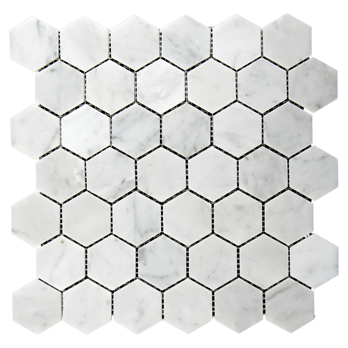 "2"" Bianco Gioia Marble Mosaic Tile Hexagon - Polished Polished / 2"" x 2"" - DW TILE & STONE - Atlanta Marble Natural Stone Wholesale Stone Supplier"
