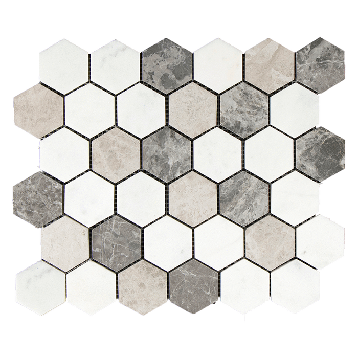 "2"" HEXAGON MIX Bianco Perla w/Silver Shadow Marble Mosaic - Polished  - DW TILE & STONE - Atlanta Marble Natural Stone Wholesale Stone Supplier"