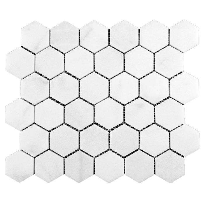"2"" HEXAGON Bianco Perla Marble Mosaic - Honed Honed / 2"" x 2"" - DW TILE & STONE - Atlanta Marble Natural Stone Wholesale Stone Supplier"