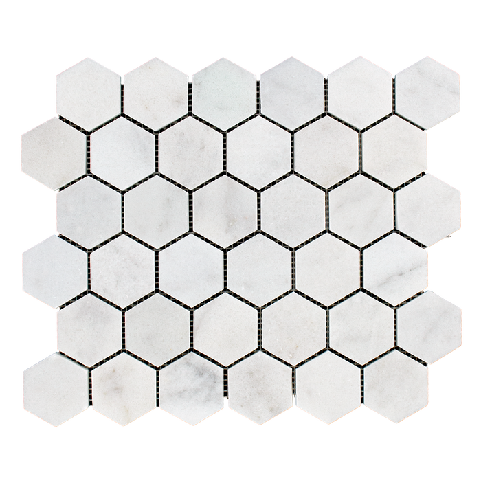 "2"" HEXAGON Bianco Perla Marble Mosaic - Polished Polished / 2"" x 2"" - DW TILE & STONE - Atlanta Marble Natural Stone Wholesale Stone Supplier"
