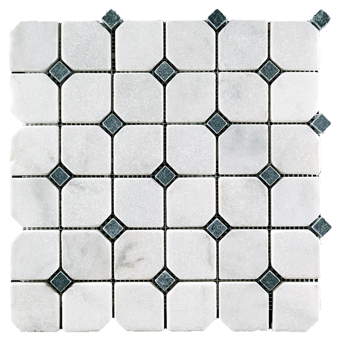 "2"" OCTAGON w/Black Bianco Perla Marble Mosaic - Tumbled  - DW TILE & STONE - Atlanta Marble Natural Stone Wholesale Stone Supplier"