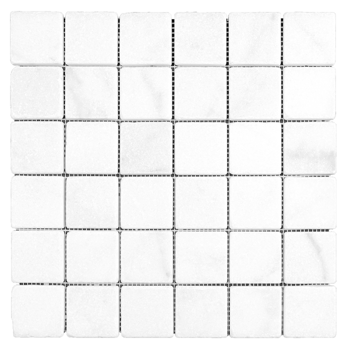 "2x2 Bianco Perla Marble Mosaic - Tumbled Tumbled / 2"" x 2"" - DW TILE & STONE - Atlanta Marble Natural Stone Wholesale Stone Supplier"