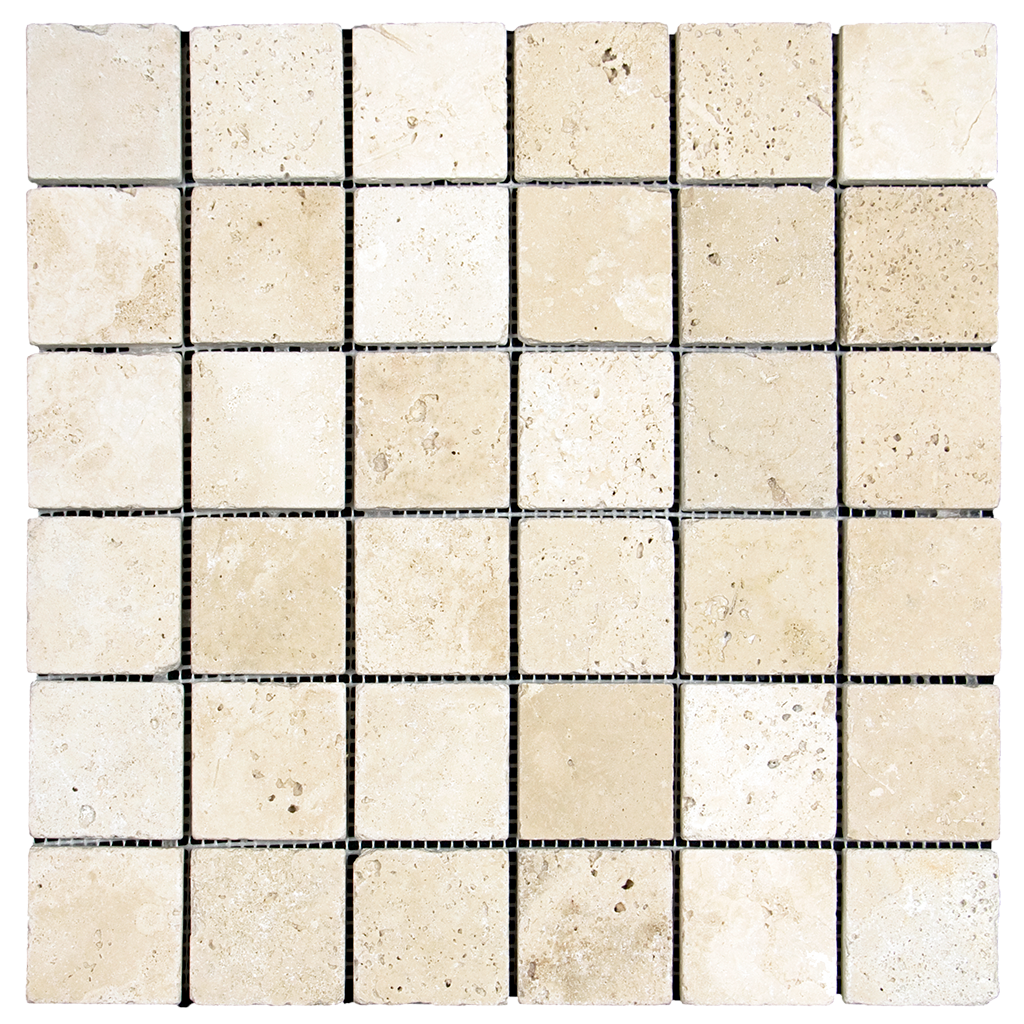 "2x2 Ivory Travertine Mosaic Tile - Tumbled Tumbled / 2"" x 2"" - DW TILE & STONE - Atlanta Marble Natural Stone Wholesale Stone Supplier"