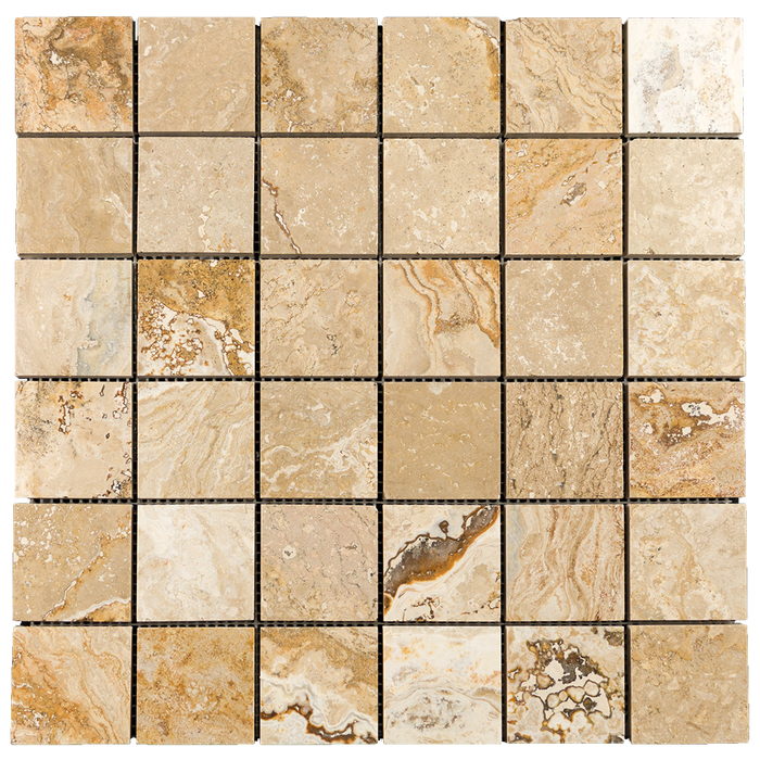 "2x2 Leonardo Travertine Mosaic Tile - Honed Honed / 2"" x 2"" - DW TILE & STONE - Atlanta Marble Natural Stone Wholesale Stone Supplier"