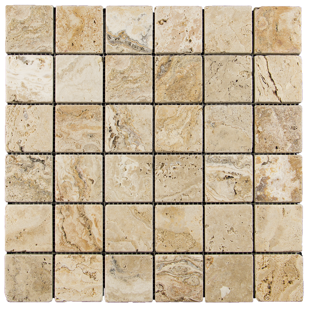 "2x2 Leonardo Travertine Mosaic Tile - Tumbled Tumbled / 2"" x 2"" - DW TILE & STONE - Atlanta Marble Natural Stone Wholesale Stone Supplier"
