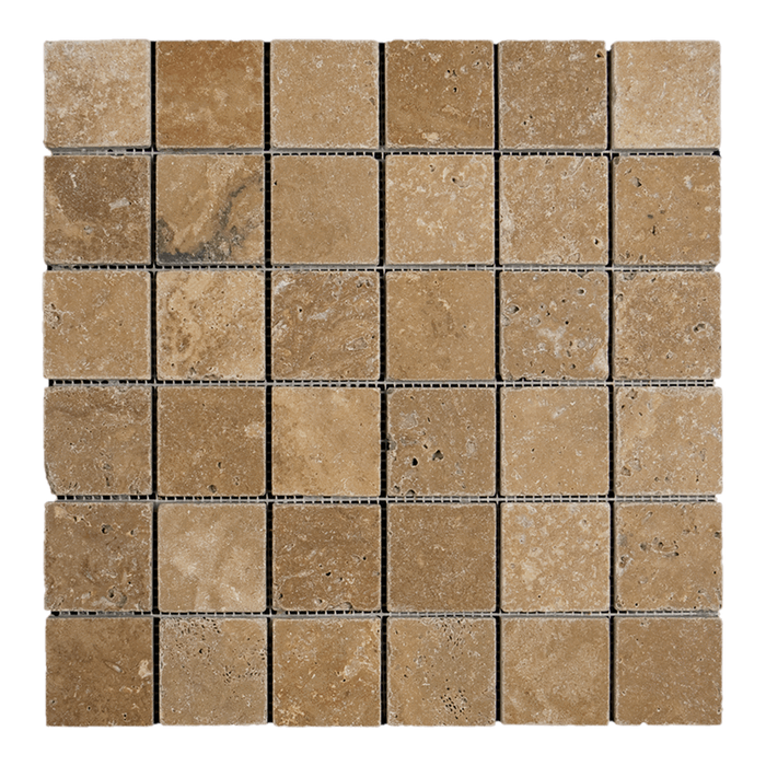"2x2 Noche Travertine Mosaic Tile - Tumbled Tumbled / 2"" x 2"" - DW TILE & STONE - Atlanta Marble Natural Stone Wholesale Stone Supplier"