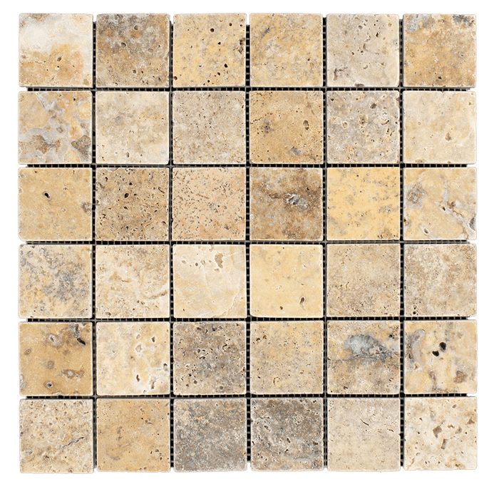"2x2 Scabos Travertine Mosaic Tile - Tumbled Tumbled / 2"" x 2"" - DW TILE & STONE - Atlanta Marble Natural Stone Wholesale Stone Supplier"