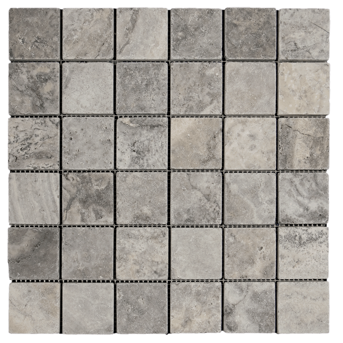 "2x2 Silver Travertine Mosaic Tile - Tumbled Tumbled / 2"" x 2"" - DW TILE & STONE - Atlanta Marble Natural Stone Wholesale Stone Supplier"