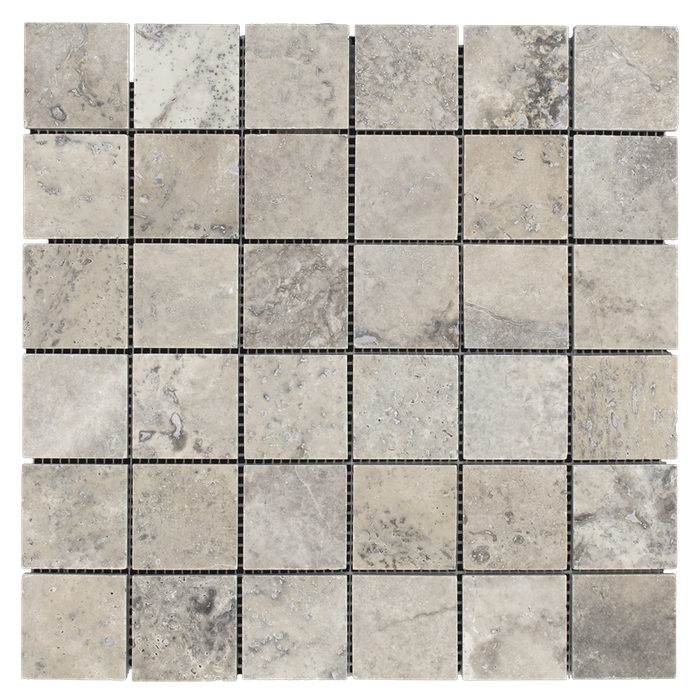 "2x2 Silver Travertine Mosaic Tile - Honed Honed / 2"" x 2"" - DW TILE & STONE - Atlanta Marble Natural Stone Wholesale Stone Supplier"