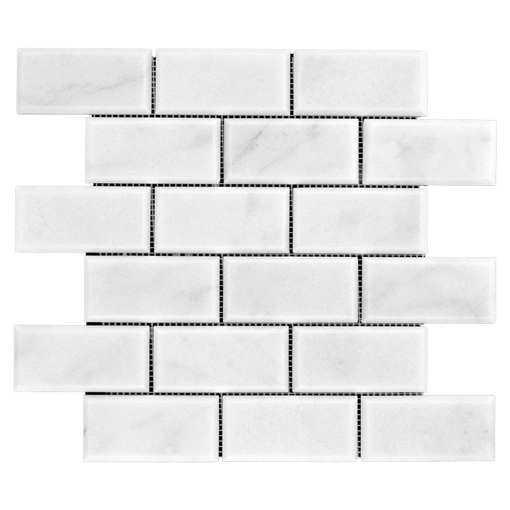 2x4 Bianco Perla Marble Mosaic - Honed and Beveled  - DW TILE & STONE - Atlanta Marble Natural Stone Wholesale Stone Supplier