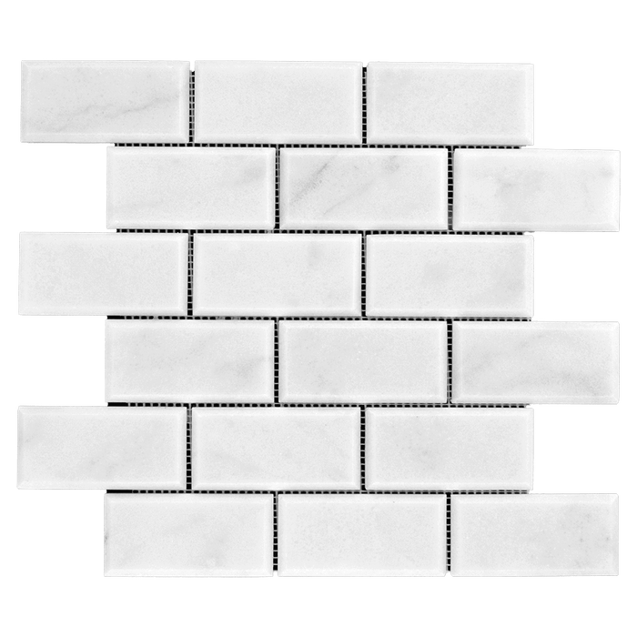 2x4 BEVELED Bianco Perla Marble Mosaic - Honed  - DW TILE & STONE - Atlanta Marble Natural Stone Wholesale Stone Supplier