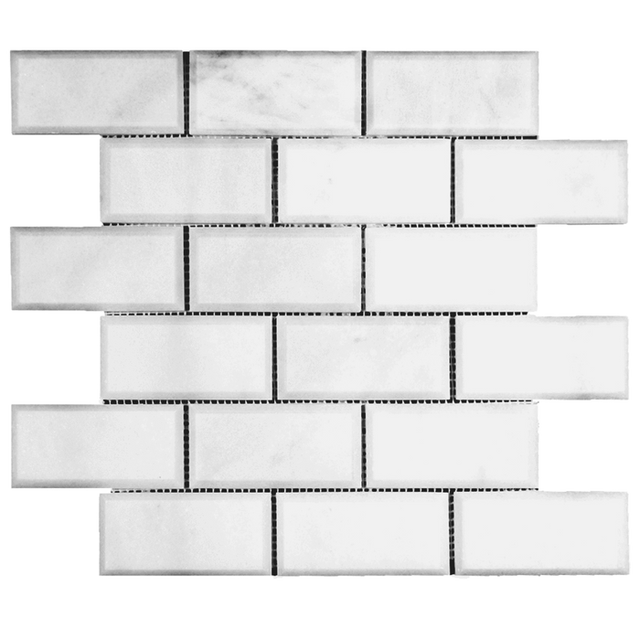 2x4 Bianco Perla Marble Mosaic - Polished and Beveled  - DW TILE & STONE - Atlanta Marble Natural Stone Wholesale Stone Supplier