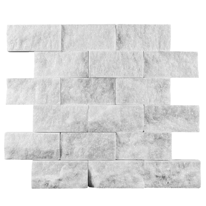 2x4 Bianco Perla Marble Mosaic - Split Face  - DW TILE & STONE - Atlanta Marble Natural Stone Wholesale Stone Supplier