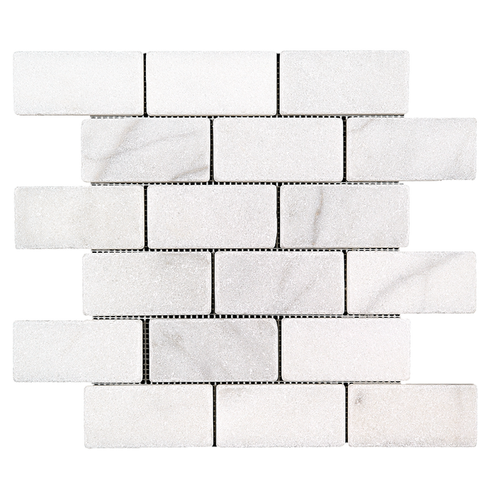 "2x4 Bianco Perla Marble Mosaic - Tumbled Tumbled / 2"" x 4"" - DW TILE & STONE - Atlanta Marble Natural Stone Wholesale Stone Supplier"