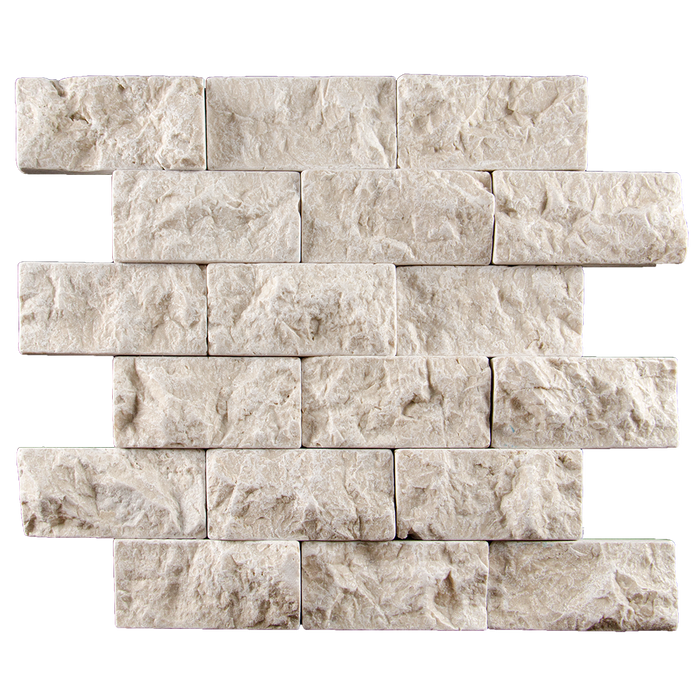 "2x4 Crema Nova Marble Mosaic Tile - Tumbled Split Face Tumbled Split Face / 2"" x 4"" - DW TILE & STONE - Atlanta Marble Natural Stone Wholesale Stone Supplier"