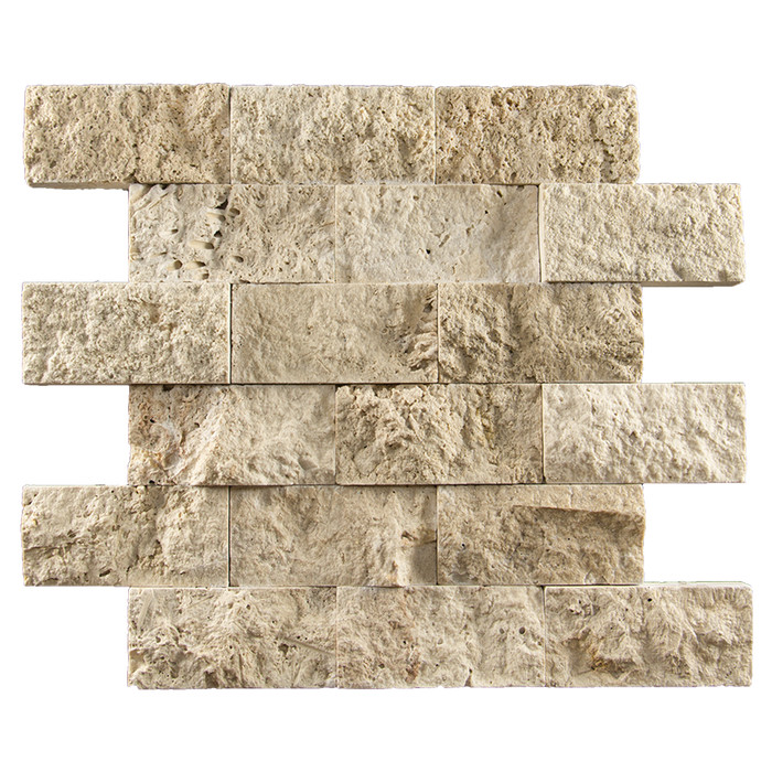 "2x4 Ivory Travertine Mosaic Tile - Split Face Split Face / 2"" x 4"" - DW TILE & STONE - Atlanta Marble Natural Stone Wholesale Stone Supplier"