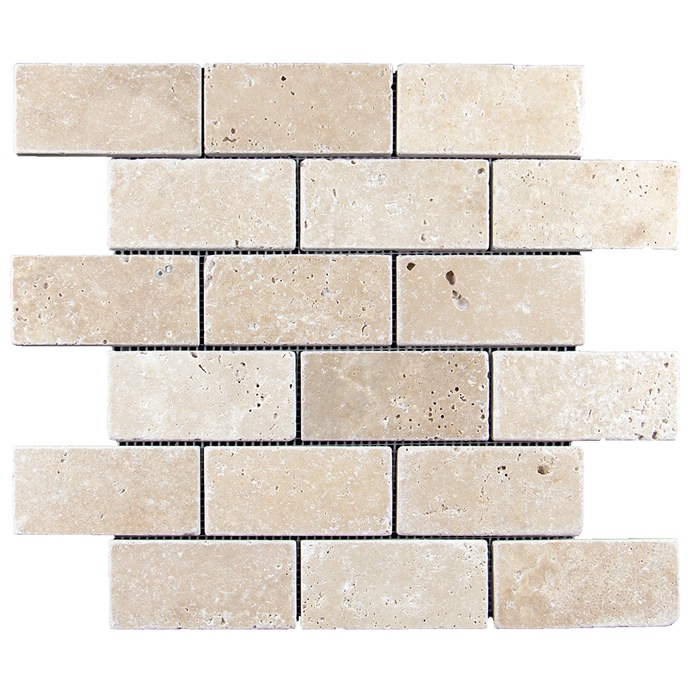 "2x4 Ivory Travertine Mosaic Tile - Tumbled Tumbled / 2"" x 4"" - DW TILE & STONE - Atlanta Marble Natural Stone Wholesale Stone Supplier"