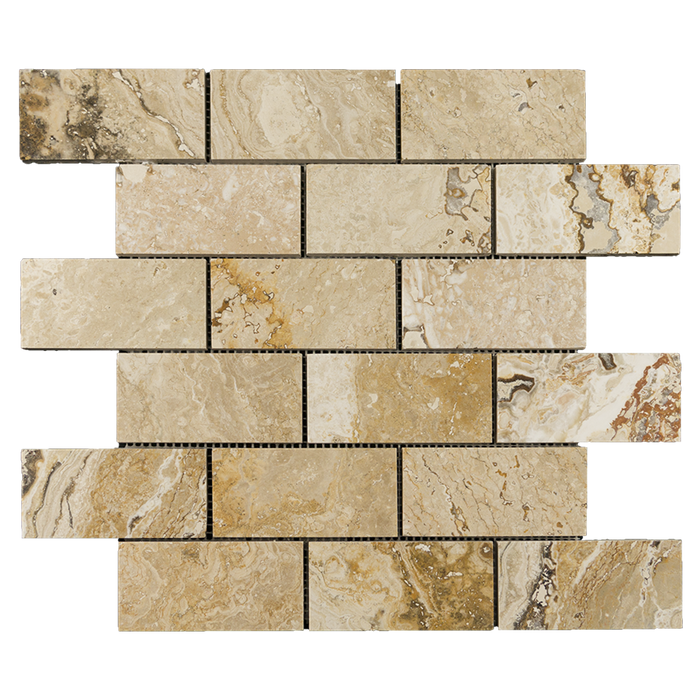 "2x4 Leonardo Travertine Mosaic Tile - Honed Honed / 2"" x 4"" - DW TILE & STONE - Atlanta Marble Natural Stone Wholesale Stone Supplier"
