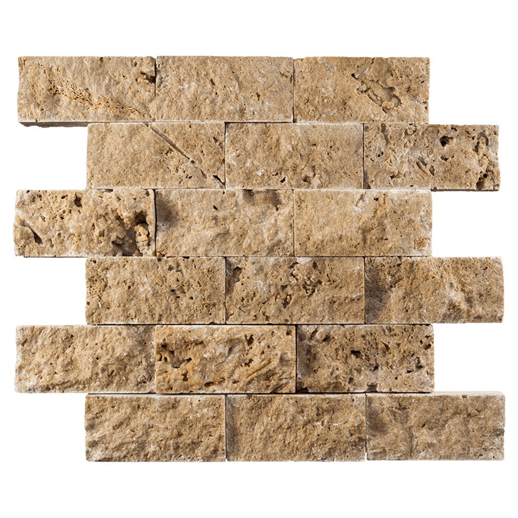 "2x4 Noche Travertine Mosaic Tile - Split Face Split Face / 2"" x 4"" - DW TILE & STONE - Atlanta Marble Natural Stone Wholesale Stone Supplier"
