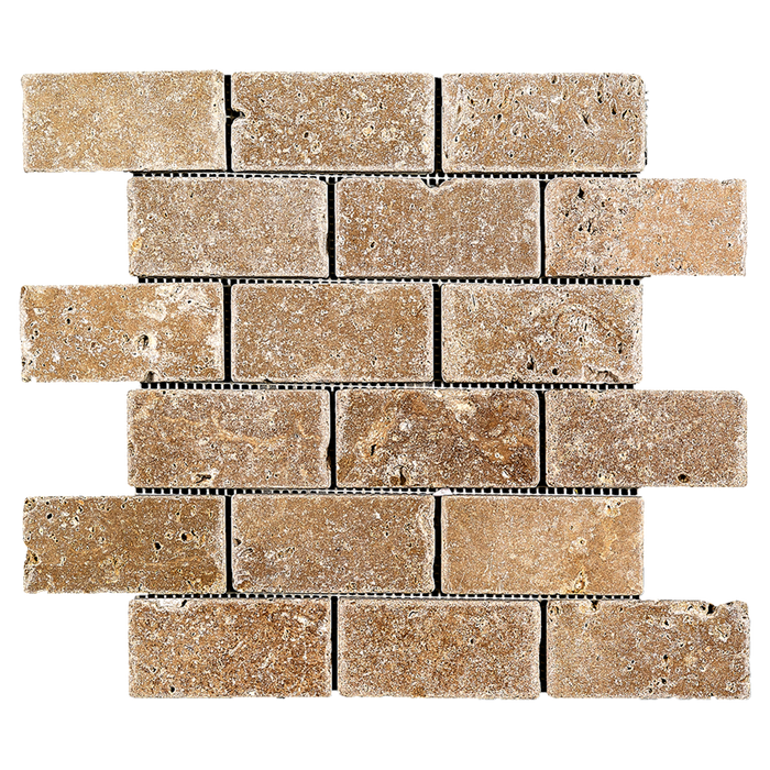 "2x4 Noche Travertine Mosaic Tile - Tumbled Tumbled / 2"" x 4"" - DW TILE & STONE - Atlanta Marble Natural Stone Wholesale Stone Supplier"