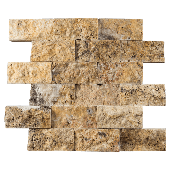 "2x4 Scabos Travertine Mosaic Tile - Split Face Split Face / 2"" x 4"" - DW TILE & STONE - Atlanta Marble Natural Stone Wholesale Stone Supplier"