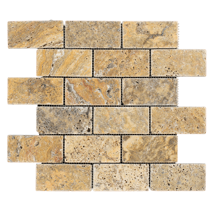"2x4 Scabos Travertine Mosaic Tile - Tumbled Tumbled / 2"" x 4"" - DW TILE & STONE - Atlanta Marble Natural Stone Wholesale Stone Supplier"