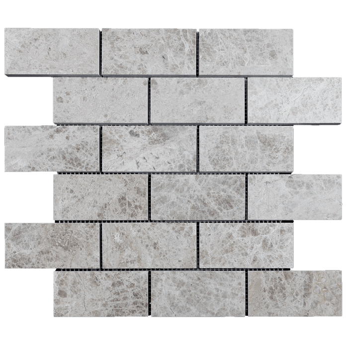 "2x4 Silver Shadow Marble Mosaic Tile - Polished Polished / 2"" x 4"" - DW TILE & STONE - Atlanta Marble Natural Stone Wholesale Stone Supplier"