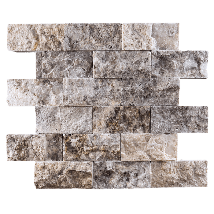 "2x4 Silver Travertine Mosaic Tile - Split Face Split Face / 2"" x 4"" - DW TILE & STONE - Atlanta Marble Natural Stone Wholesale Stone Supplier"