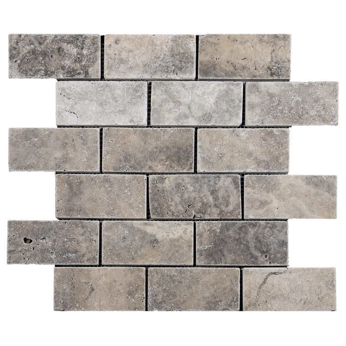 "2x4 Silver Travertine Mosaic Tile - Tumbled Tumbled / 2"" x 4"" - DW TILE & STONE - Atlanta Marble Natural Stone Wholesale Stone Supplier"