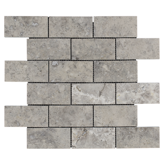 "2x4 Silver Travertine Mosaic Tile - Honed Honed / 2"" x 4"" - DW TILE & STONE - Atlanta Marble Natural Stone Wholesale Stone Supplier"