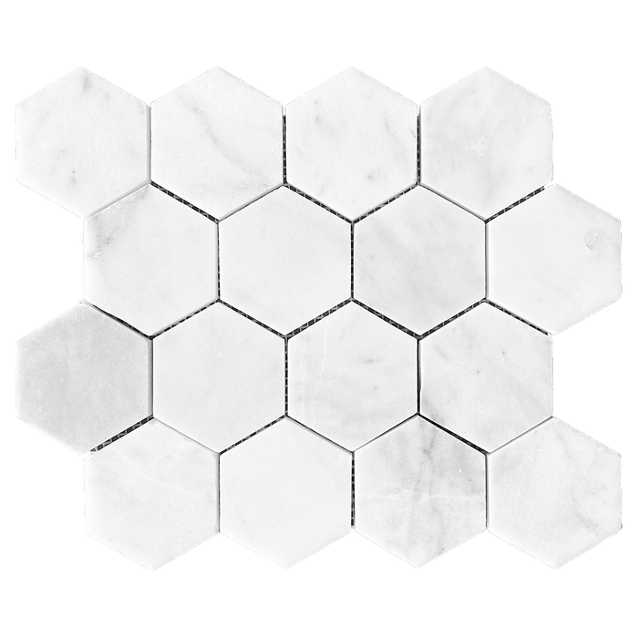 "3"" HEXAGON Bianco Perla Marble Mosaic - Honed  - DW TILE & STONE - Atlanta Marble Natural Stone Wholesale Stone Supplier"