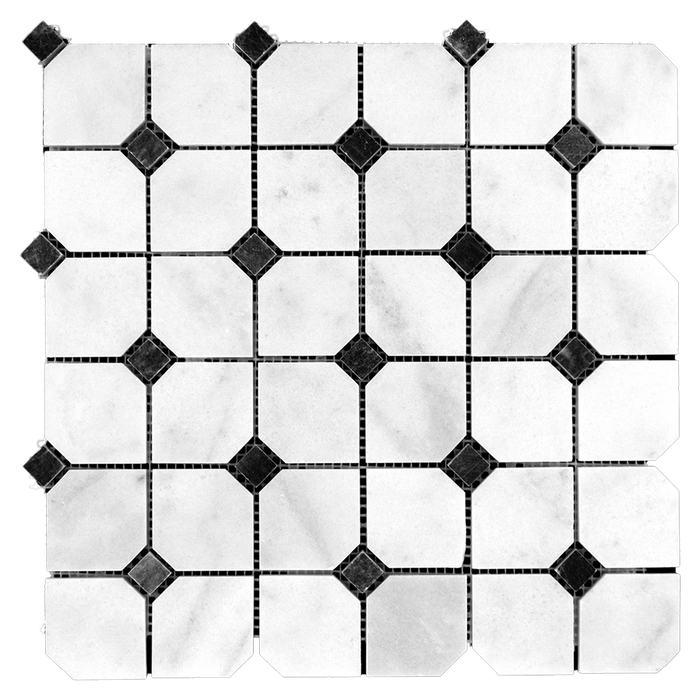 2x2 Bianco Perla Marble w/Black Marble Mosaic Hexagon- Polished  - DW TILE & STONE - Atlanta Marble Natural Stone Wholesale Stone Supplier