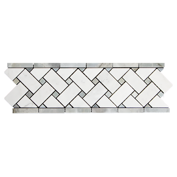 "4x12 Bianco Gioia w Grey Marble Mosaic Tile Basketweave Border Honed / 4"" x 12"" - DW TILE & STONE - Atlanta Marble Natural Stone Wholesale Stone Supplier"