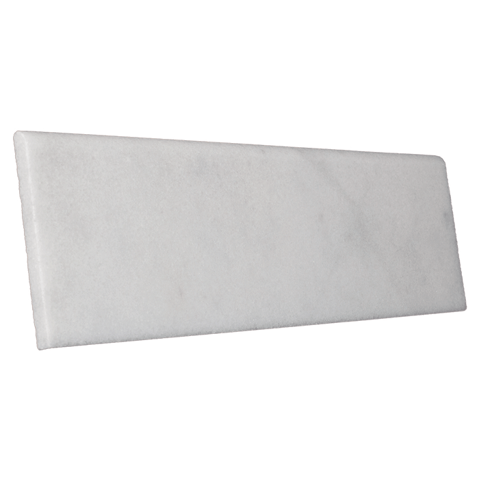 "Bianco Perla Marble Flat Single Bullnose - Polished Polished / 4"" x 18"" - DW TILE & STONE - Atlanta Marble Natural Stone Wholesale Stone Supplier"