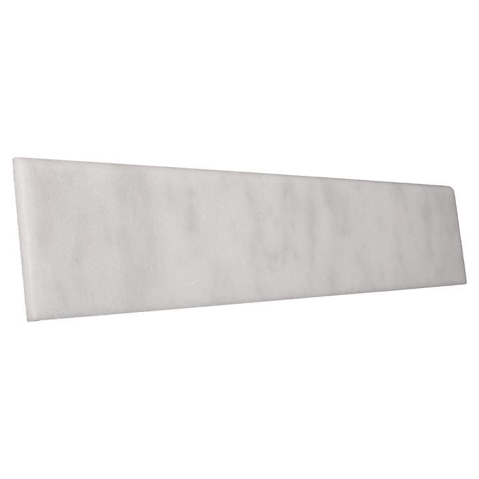"Bianco Perla Marble Flat Single Bullnose - Polished Polished / 4"" x 12"" - DW TILE & STONE - Atlanta Marble Natural Stone Wholesale Stone Supplier"