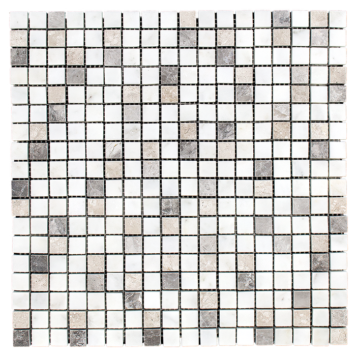 "5/8"" x 5/8"" MIXED Bianco Perla w/Silver Shadow Marble Mosaic - Polished Polished / 5/8"" x 5/8"" - DW TILE & STONE - Atlanta Marble Natural Stone Wholesale Stone Supplier"