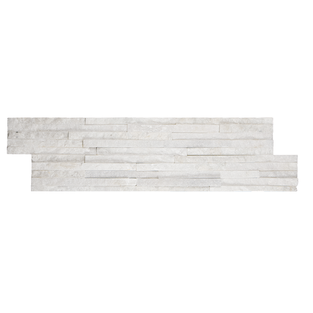 "Mini White Quartize Slate Ledger Stone Split Face / 6"" x 22"" - DW TILE & STONE - Atlanta Marble Natural Stone Wholesale Stone Supplier"