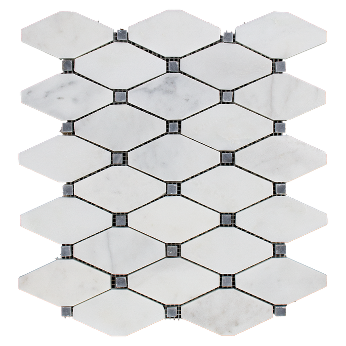 DIAMOND Bianco Perla Marble w/Grey Mosaic Tile - Honed  - DW TILE & STONE - Atlanta Marble Natural Stone Wholesale Stone Supplier
