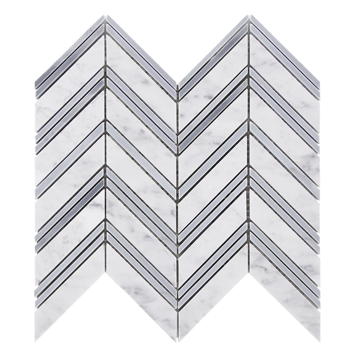 Bianco Gioia w Grey Marble Mosaic Tile Chevron - Polished Polished / Chevron - DW TILE & STONE - Atlanta Marble Natural Stone Wholesale Stone Supplier