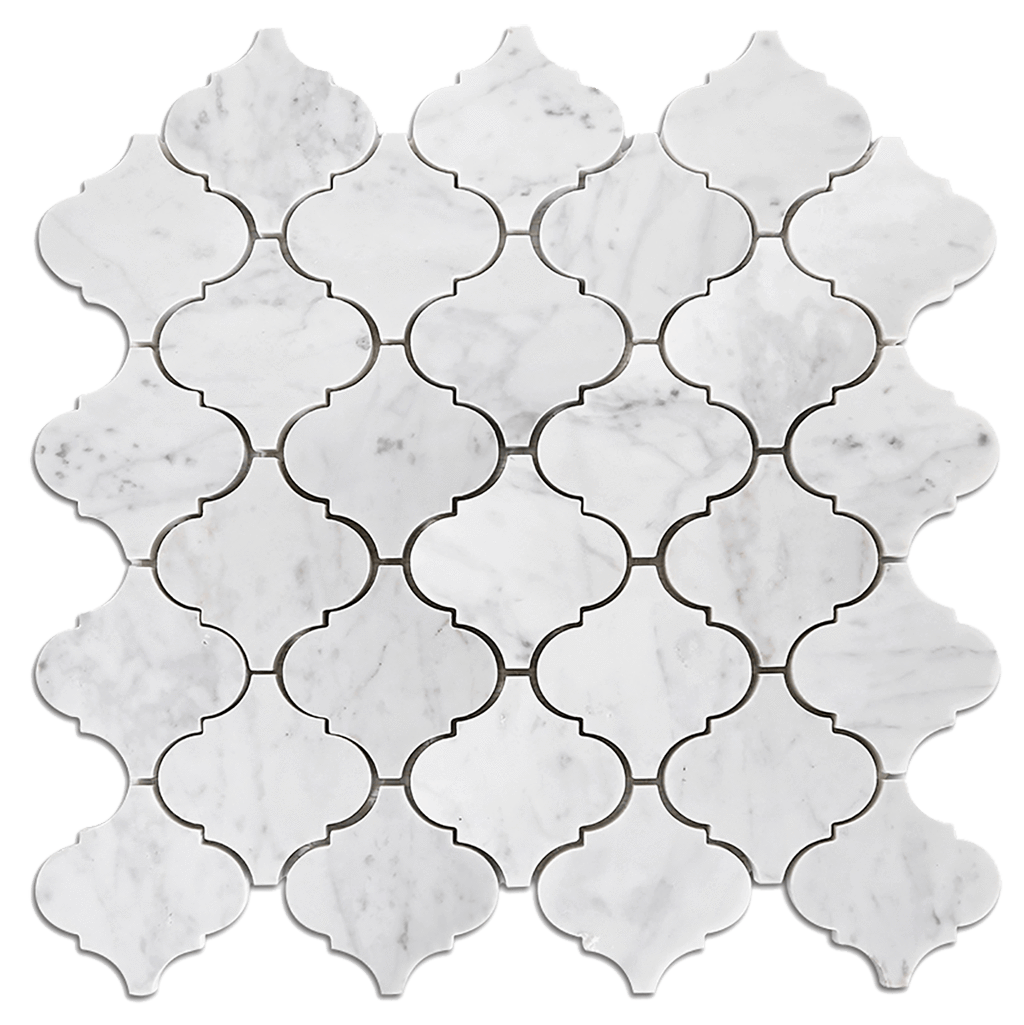 ARABESQUE Bianco Gioia Marble Mosaic Tile - Polished Polished / Arabesque - DW TILE & STONE - Atlanta Marble Natural Stone Wholesale Stone Supplier